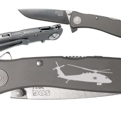 Helicopter Blackhawk Uh60 Custom Engraved Sog Twitch Ii Twi-8 Assisted Folding Pocket Knife By Ndz Performance