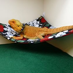 Hammock For Bearded Dragons, Skulls And Roses Fabric With Adhesive Hooks