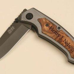 """Personalized Pocket Knife - Belt Clip 3 1/4"""" Black Blade"""