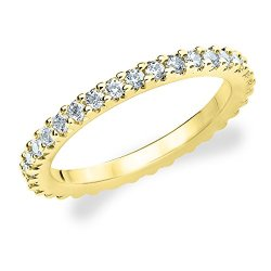 18K Yellow Gold Diamond Knife Edge Eternity Band (1.5 Cttw, H-I Color, I1-I2 Clarity) Size 4