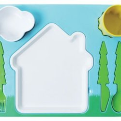 "Landscape"" Melamine Kids Dinner 7-Piece Set, Plate, Cup, Utensils, Bowl"