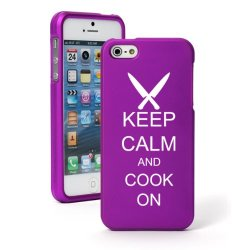 Apple Iphone 5C Ch233 Purple Rubber Hard Case Snap On 2 Piece Keep Calm And Cook On Chef Knives