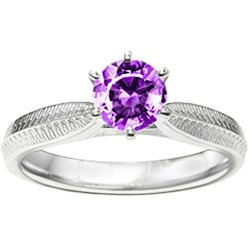 Sterling Silver Engraved Knife-Edged Shank Solitaire Set With February Amethyst Cubic Zirconia (6.5 Mm Round)