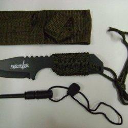 "762 7"" Survival Knife W/Fire Starter, Green Rope, Nylon Pouch"
