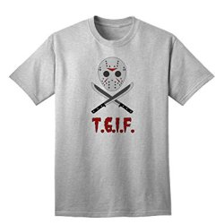 Scary Mask With Machete - Tgif Adult T-Shirt - Ashgray - Large
