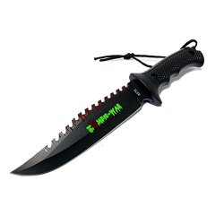 """New 9"""" Zombie-War Stainless Steel Hunting Knife With Black Handle 8270"""
