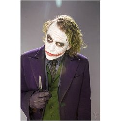 Batman: The Dark Knight Heath Ledger Is The Joker Serious Holding Knife Up 8 X 10 Photo