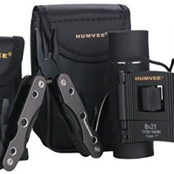 Humvee Hmv-Cp-9 Combo Pack With Mini Rubber Binocular And Multi-Tool (Black Finish, 8X21)
