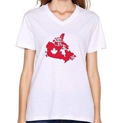 Goldfish Women'S Vintage Slim Fit Canada T-Shirt White Us Size M