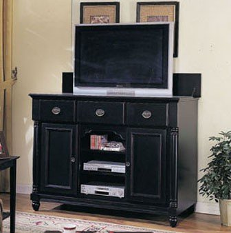 Image of Entertainment Console Table with TV Lift Black Finish (VF_AM6989)
