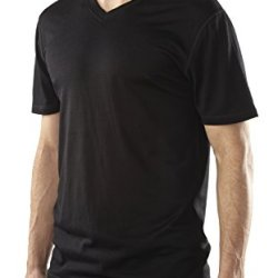 Woolly Clothing Co. Men'S Merino Wool Short Sleeve V-Neck T-Shirt Large Black