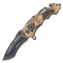 8.5 Inch Wartech Spring Assisted Rescue Knife (Camo) Yc-S-7006-Cm