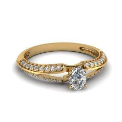 Fascinating Diamonds 0.70 Ct Oval Shaped Diamond Split Band Knife Edge Engagement Ring Si2-F 14K Gia