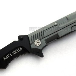 "Pk-748Ngy "" Navy Seals "" Rescue Style Gun Omjdx Shape Spring Wtyrg6Z Assist 4.5"" W/Clip Ajuiioptr 4567Fffg 567Ybghjk "" Navy Seals "" Gun Shape Handle 62Krpv Rescue Style Spring Assist Knife. All Black Stainless Steel Half Serrated Q9Uqlr Blade. Includes Po"