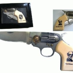 Csa Confederate Civil War Army Legend Of General Robert E Lee Straight Shooter Pocket Gun Revolver Folding Knife