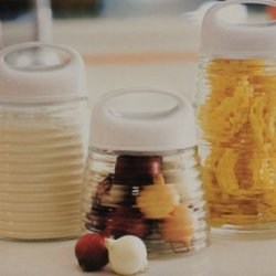 Glass Kitchen Canister Set Of 3 Ribbed Honey Jar Style 31884