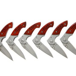 Eliml(Tm) Total 6 Of Monogrammed Personalized 3 Inch Wood Handle Foldable Pocket Knife With Clip For Wedding Party