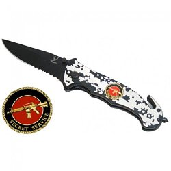 "New 8"" Folding Spring Assisted Knife Tactical Spring Assisted Knife Belt Cutter"