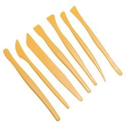 Housweety 7Pcs Plastic Modeling Clay Wax Clay Sculpture Knife Tool Set Yellow