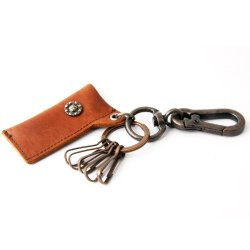 Leather Lighter Holder/ Key Chain W/Ancient Swirl Pyramid W/5 Carabiners (Brown)