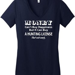 Money Can'T Buy Happiness, Can Buy Hunting License Juniors V-Neck Large New Navy
