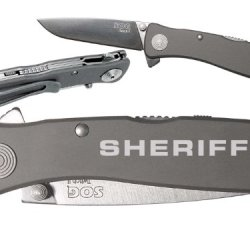 Sheriff Police Text 1L Custom Engraved Sog Twitch Ii Twi-8 Assisted Folding Pocket Knife By Ndz Performance