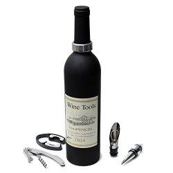 Oxgord 5-In-1 Wine Bottle Opener Bar Tool Pourer Collar Corkscrew Stopper Cutter