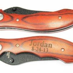 1 Personalized Engraved Pocket Knife Rosewood Handle Holidays Birthday Groomsmen Gift-Se2