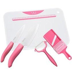 Kyocera Kitchen 5-Piece Set (Ceramic Knife / Fruit Knife / Ceramic Peeler / Ceramic Slicer / Kitchen Board) Pink