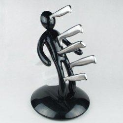 Small Figure Cutter Holder 5-Piece Kitchen Knife (Black)