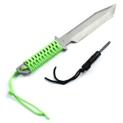 """Asr Outdoor 11"""" Full Tang Camping Hunting Survival Serrated Knife & Fire Starter (4 Colors) (Neon Green)"""