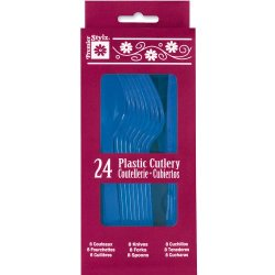 Royal Blue Plastic Cutlery Set For 8