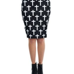 Switchblade Stiletto Cross Double Zip Pencil Skirt
