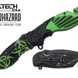 "Biohazard 8"" Spring Assisted Open Folding Zombie Pocket Knife"