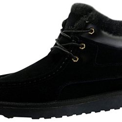 Rock Me Fluff Leather Collar Knitting Lace Up Men Ankle Snow Boots Baken Iii(10 D(M) Us, Black)