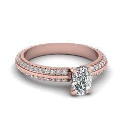Fascinating Diamonds 1.10 Ct Cushion Cut Vvs1-H Color Diamond Knife Edge Pave Set Engagement Ring 14K Gia