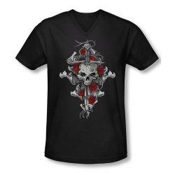 Lethal Threat Skull Rose Dagger Men'S V-Neck T-Shirt Small Black