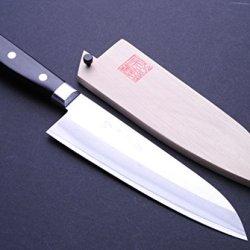 """Yoshihiro Ice Hardened High Carbon Stainless Warikomi Santoku Japanese Multipurpose Chef Knife 7"""" (180Mm)"""