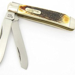 2008 Buck 382 Medium Trapper 2 Duo Blade Knife Stag Horn Antler Nickel Silver Handle Bu382S ~ New In Box