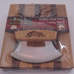 Made In Alaska Ulu Birch / Walnut Stripe Chopping Bowl Set W/ Totemic Salmon Ulu Knife