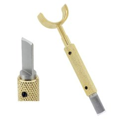 Gold-Plated Leather Swivel Knife Super-Smooth Sleeve Bearing Handle - Hand Ground Blade