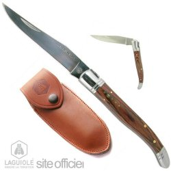 Laguiole Knife With An Exotic Wood Handle, 22Cm When Unfolded, Exotic Wood Handle, Inlaid Round Of The Shepherd Star. Stainless Steel. Blade Excellent Feel In Hand. Full Grain Brown Leather Case With Beltclip. Superb Laguiole.