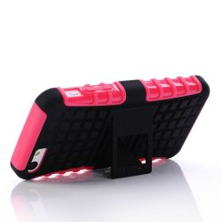 Meaci® Iphone 5C Case Pink 2 In 1 Tpu Stand Kickstand Defender Silicon Rubber&Pc Hard Case 1X Free Anti-Dust Plug Stopper(Random Color)