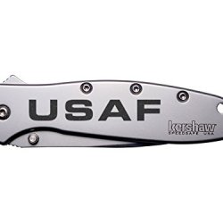 Usaf Air Force Text Engraved Kershaw Leek 1660 Ken Onion Design Folding Speedsafe Pocket Knife By Ndz Performance
