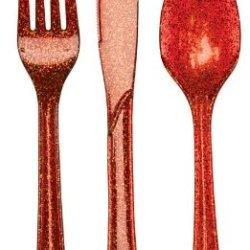Creative Converting Premium Plastic Glitz Red Glitter Cutlery, 24 Utensils Per Package