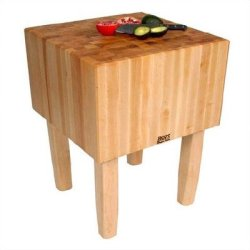 "Boosblock Aa Professional Prep Table With Butcher Block Top Size: 35"" W X 30"" D, Leg Material: Wood"