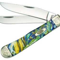 Case Cutlery 9254Sg/E Sapphire Glow Corelon Engraved Trapper Pocket Knife With Stainless Steel Blades Blue, Gold And Green Mixed Corelon