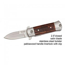 "New 4"" Mini Folding Spring Assisted Knife Wood Handle With Clip"