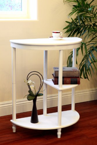 Image of Frenchi Home Furnishing Half Moon Console Table, White (MH125-WH(Frenchi))