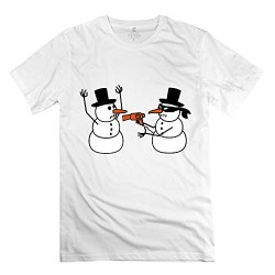 Hd-Print Men'S T-Shirt Hair Dryer Snowman Robbing L White